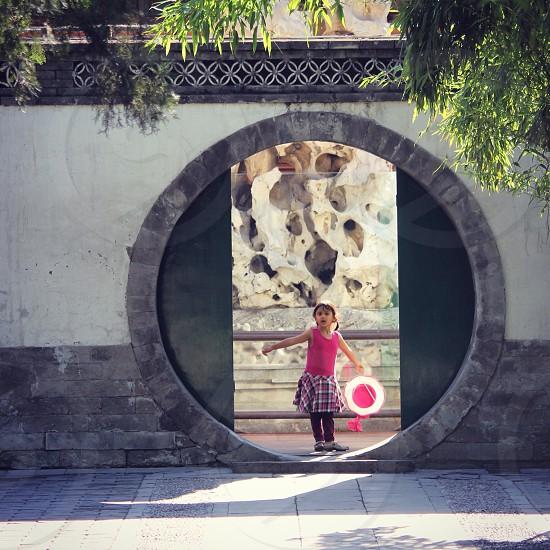 Circular doorway in the Summer Palace Beijing.  photo