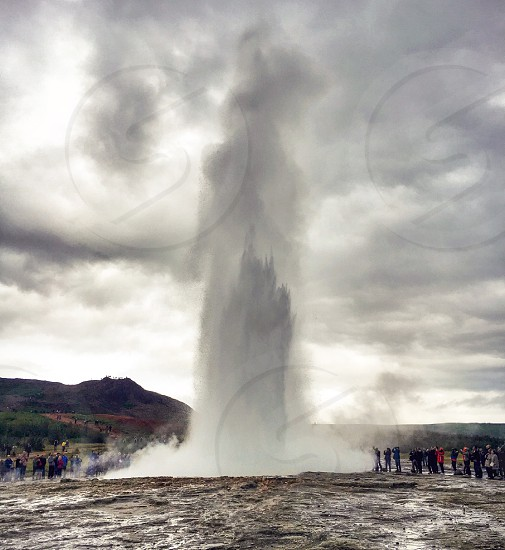 Geyser eruption in Iceland  photo