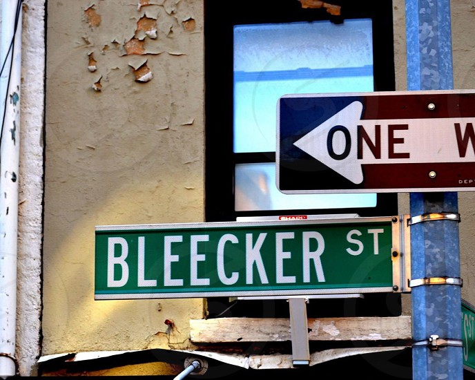 one way bleecjer st road sign photo