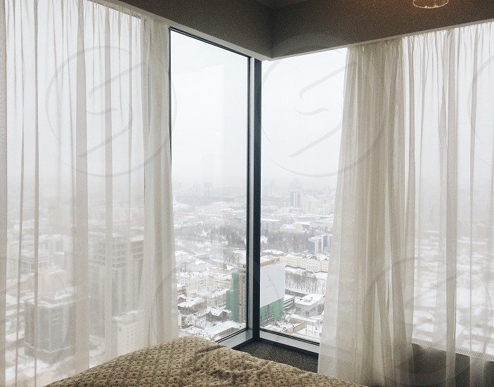 Hotel room with panoramic view photo