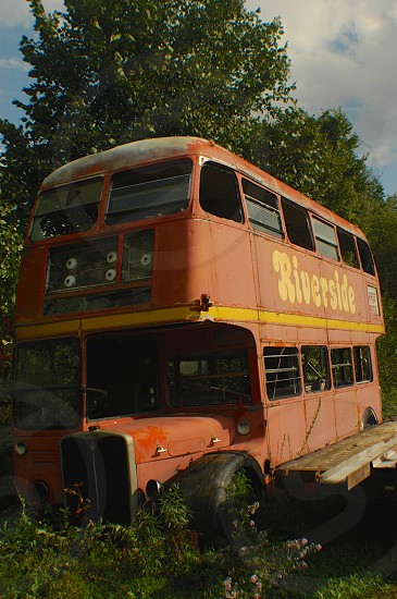 Bus Double Decker Red Old Rusty Rustic Abandoned  photo