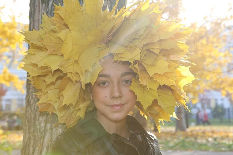 Sunshine portrait young lady sunlight autumn season photo