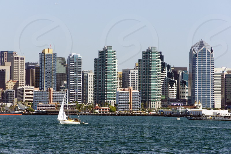 Sailboats in the harbor off Shelter Island in San Diego California with the downtown skyline in the background photo
