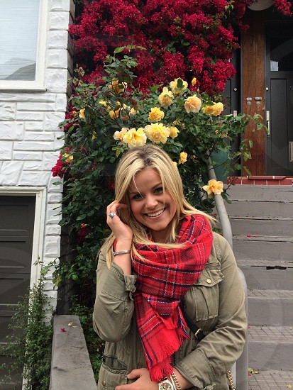 lady in red and black plaid scarf photo