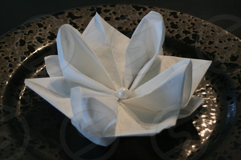 Flower made out of Vanity Fair napkin photo