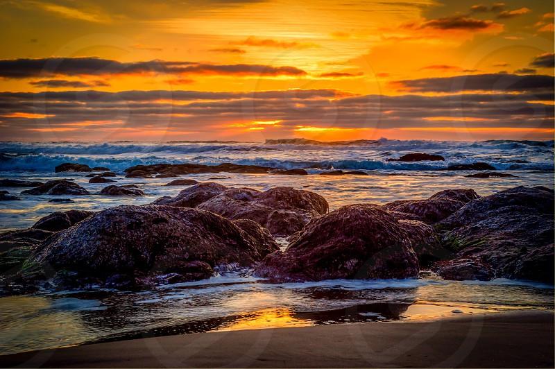 Oregon coast beach waves photo