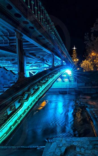 under the bridge of the river Letheos_Trikala_Greece photo