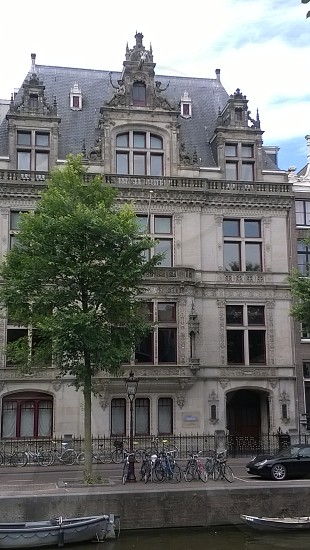 Beautiful canal house in Amsterdam.  photo