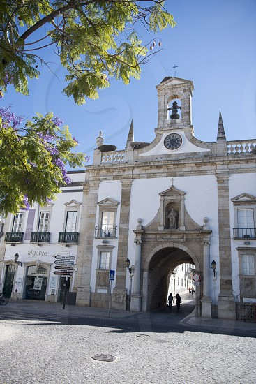 the arco da vila Gatel in the old town of Faro at the east Algarve in the south of Portugal in Europe. photo