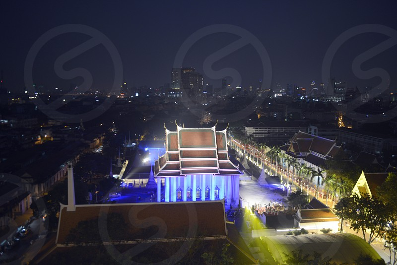 the Wat Saket under the temple of the golden mountain in the city of Bangkok in Thailand in Southeastasia. photo