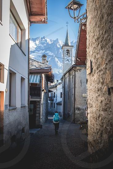 Wandering through Dolonne in the Italian alps. photo