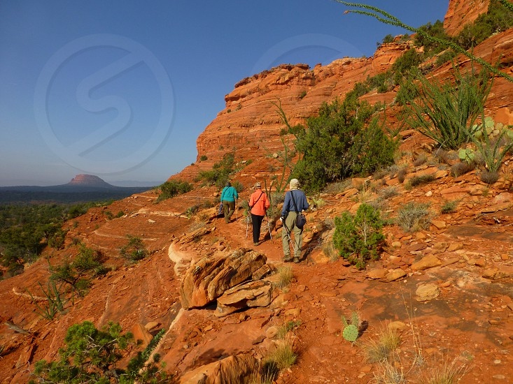 Hikers on the Mescal Trail Sedona Arizona USA photo