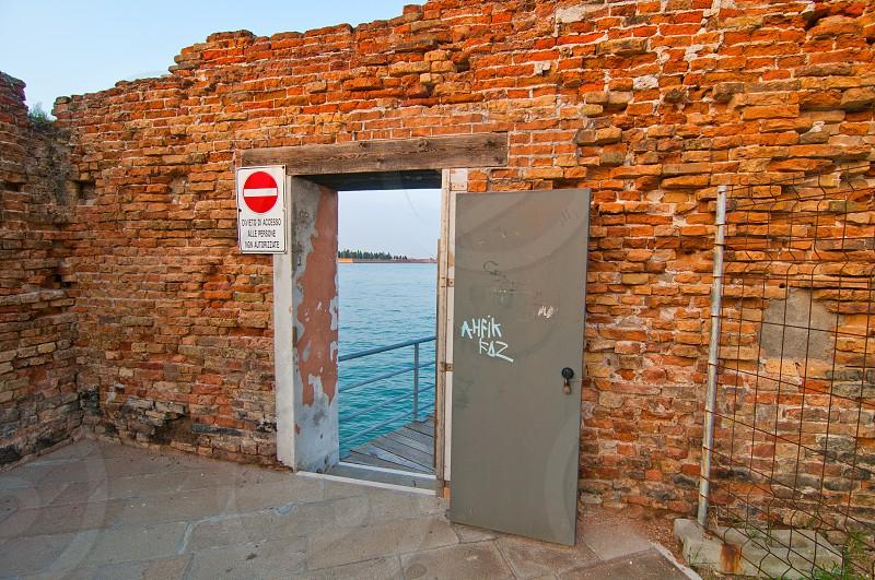 Venice Italy unusual old door dettail view  photo