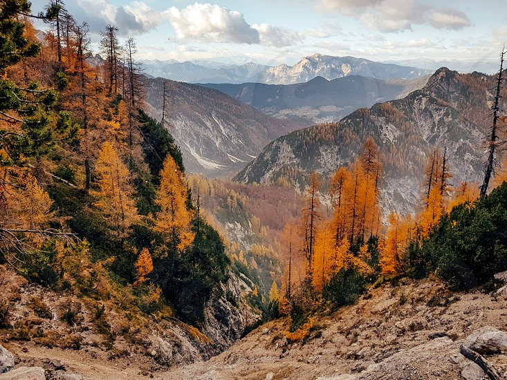 High angle view from the mountain towards a valley. Autumn fall colors. photo