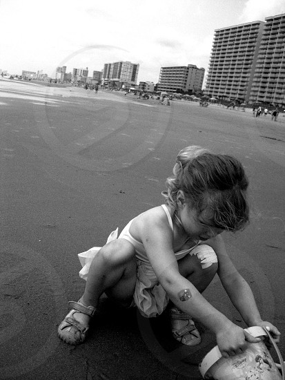 B&w monochromatic beach child at play photo