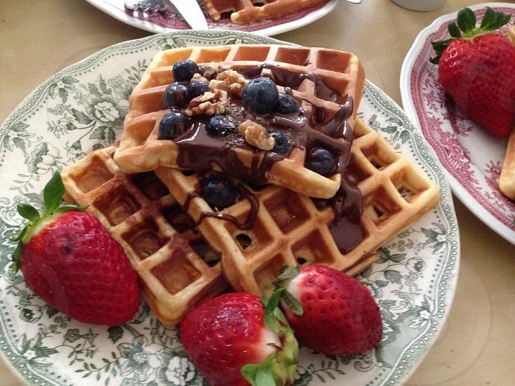 Breakfast waffles close-up photo