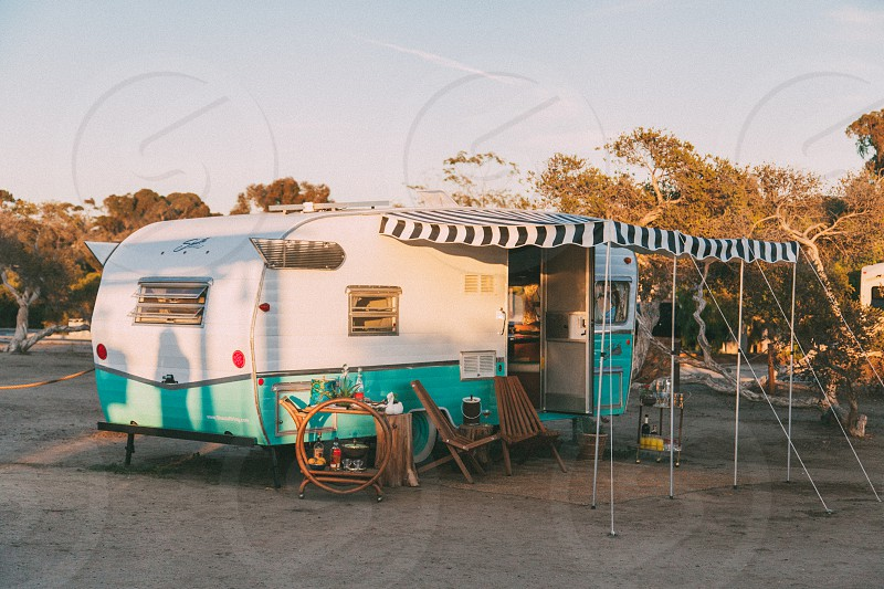 blue and white camping trailer photo