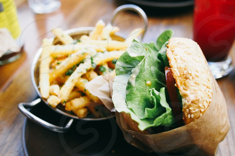 cheese burger with fries photo