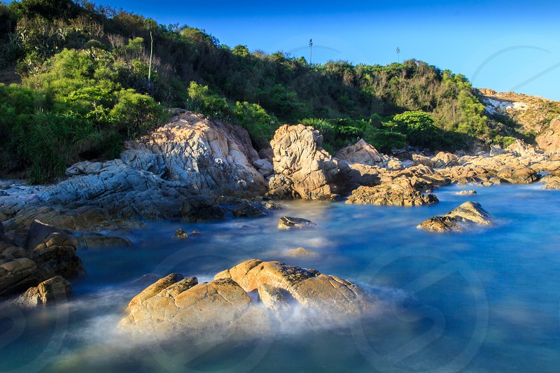 Ganh Da Dia is a seashore area of uniformly interlocking basalt rock columns located along the coast in An Ninh Dong Commune Tuy An District Phu Yen Province Vietnam photo