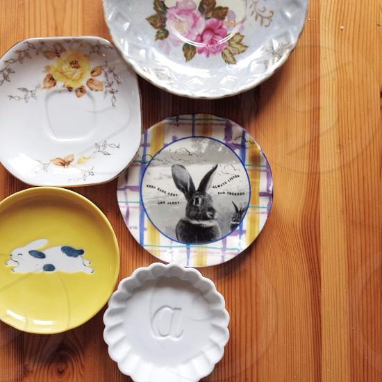 decorative bunny accent plate photo