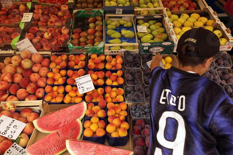 The Market in the town of Pallanza near to Verbania on the Lago maggiore in the Lombardia  in north Italy.  photo