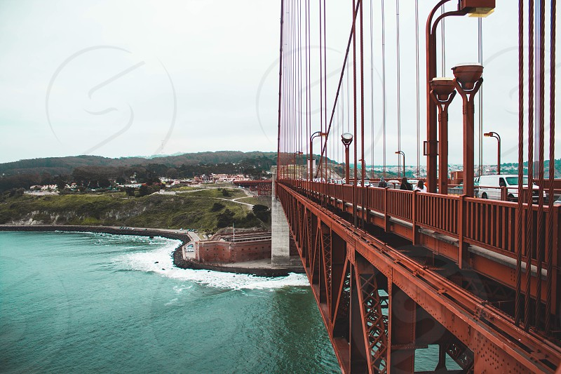 a view of San Francisco from the half-way-point of the Golden Gate Bridge. photo