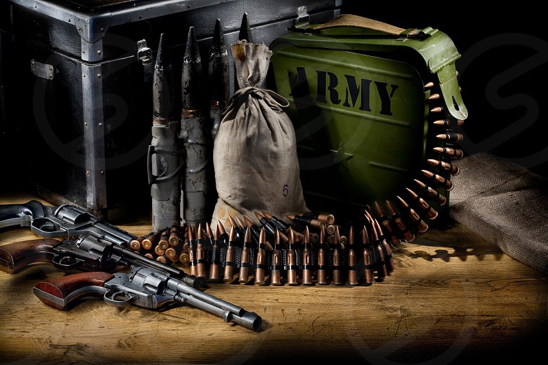 Army equipment on a wooden table photo