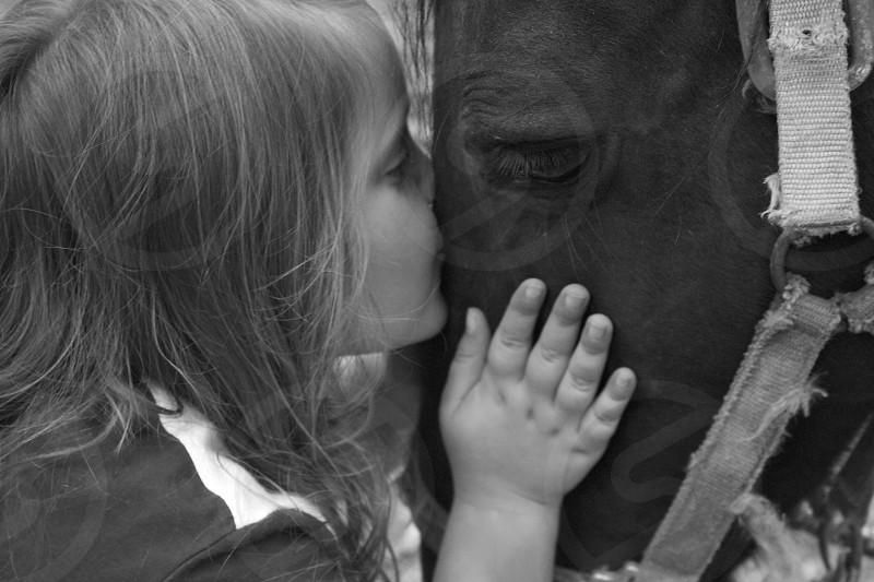 girl horse pony kiss hands photo