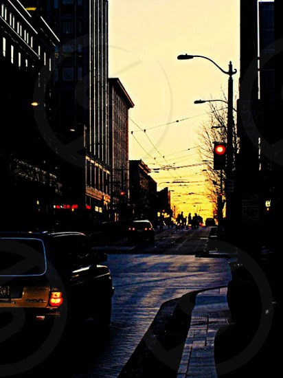 downtown sunset in Seattle WA photo