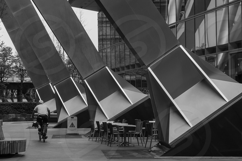Building in the City of London supported by large angular metal struts photo