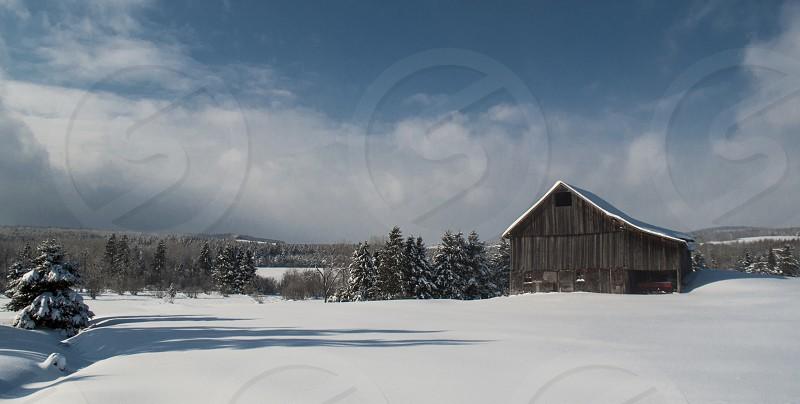 Barn winter snow landscape  photo