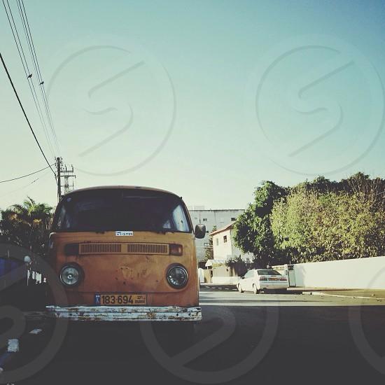 yellow volkswagen type 2 van photo