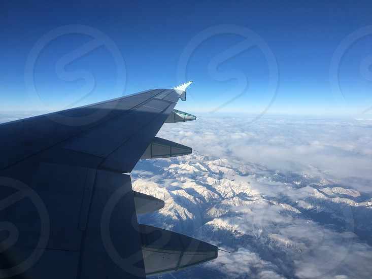 flying over the rocky mountains photo