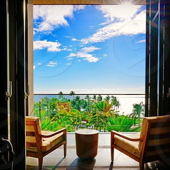Window door chair Hawaii Maui angle summer vacation relax open tropical  sky photo