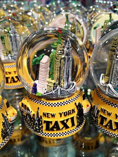 new york taxi snow globe photo