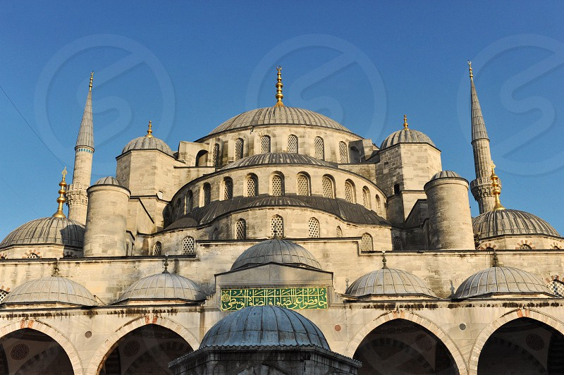 Close up of the Blue Mosque also know as Sultan Ahmed Mosque. photo