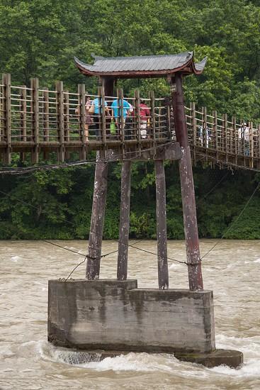 Pedestrian bridge at Duijangyan Ancient Dam China photo