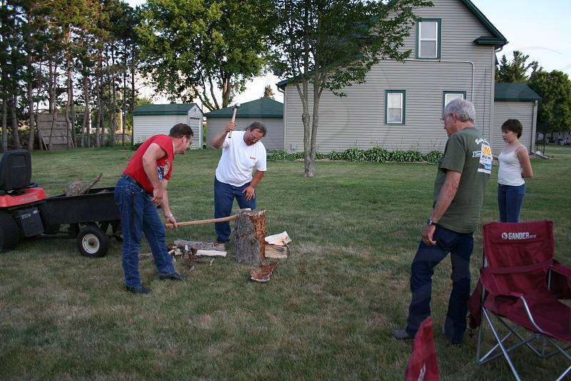 Chopping firewood photo