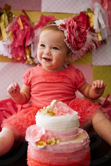 Paisley on her first birthday right before she smashed the cake. photo
