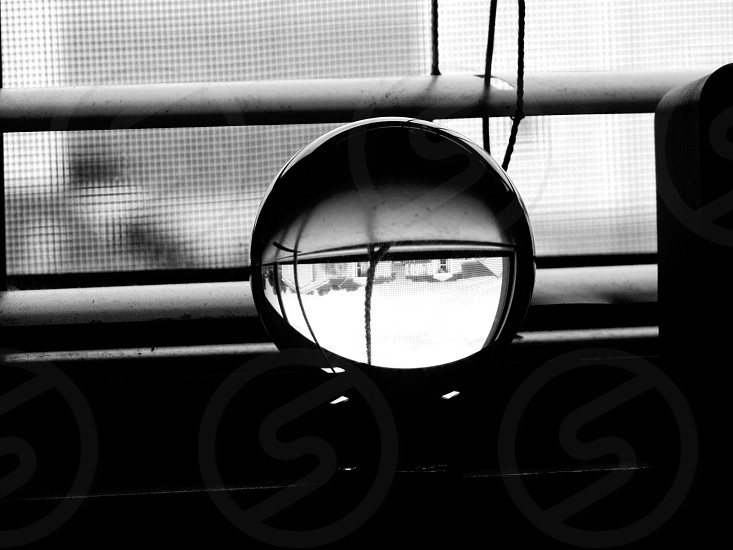 Lensball Black white black and white monochrome portrait perspective window blinds windowsill closeup up close photo