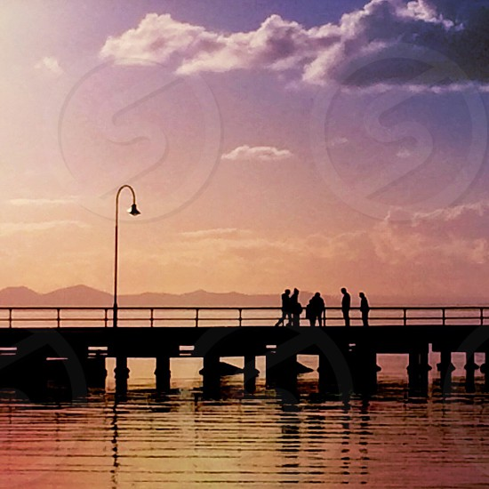 Port Arlington boardwalk at dusk photo