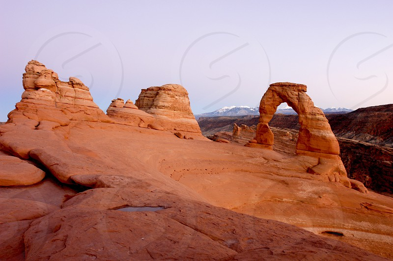 Unique view of Delicate Arch located in Arches National Monument Utah photo