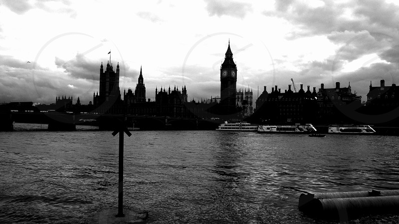 Big Ben the River Thames Dark. photo