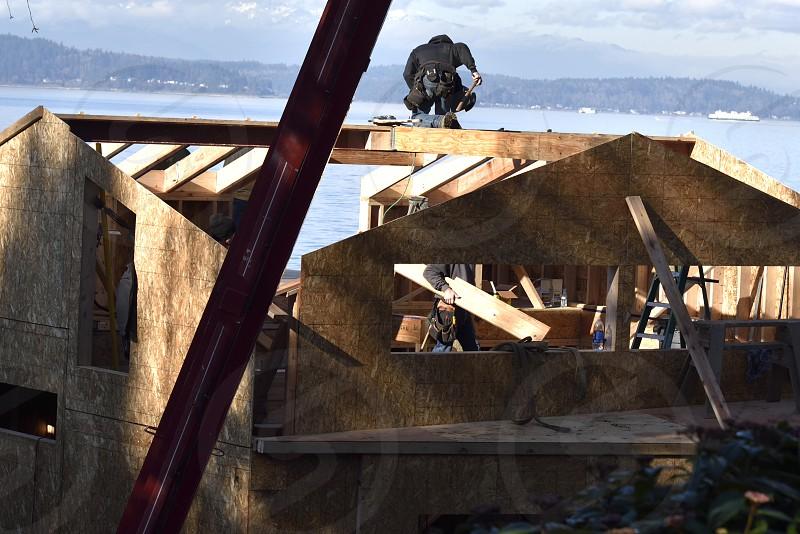 Seaside home construction. photo