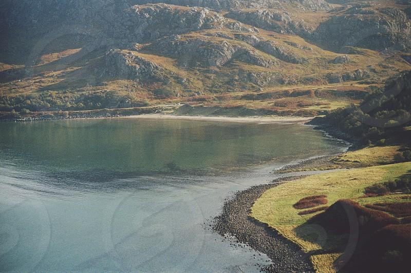 Scotland coast beach sea mountains landscape Scottish  photo