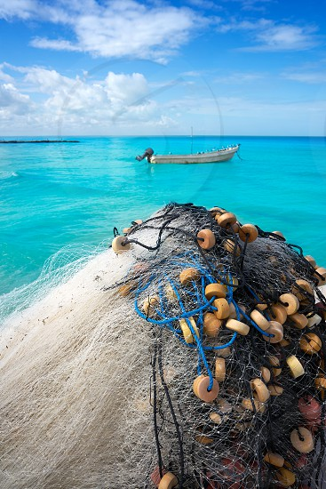 Holbox tropical Island fishing nets in Quintana Roo of Mexico photo