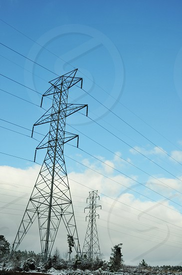 Rural industrial electricity pylons communications powerlines photo