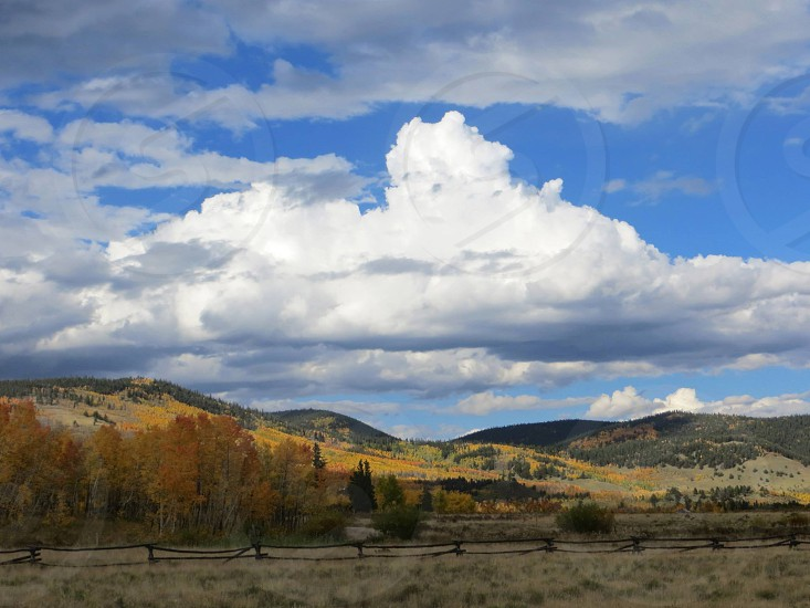 Fall Colorado Aspens Clouds Hills outdoors green nature scenic photo