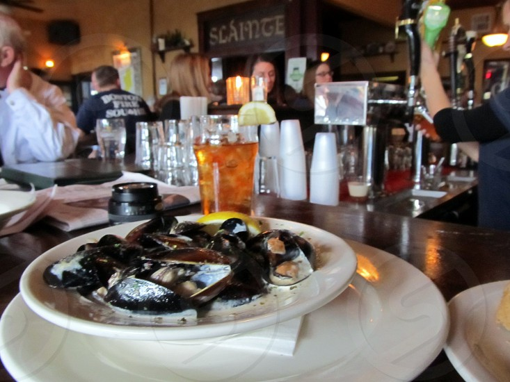 Mussels in cream sauce at Irish bar photo