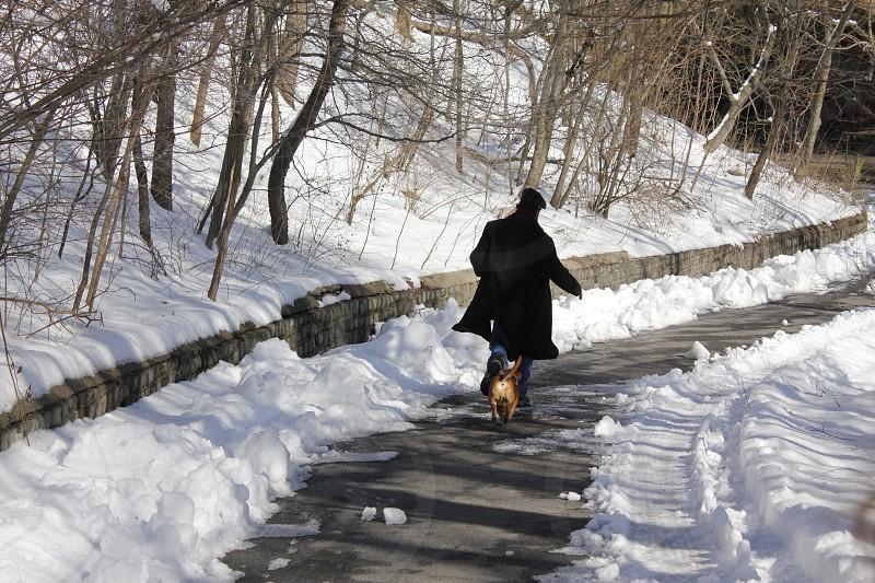 man in black jacket walking with dog photo